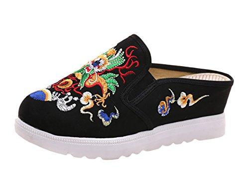 Insun Damen Espadrilles Slipper Flats Schuhe Pumps Mit Keilabsatz Handgemachte Gestickte Freizeitschuhe Schwarz 38 EU (Espadrilles Handgemachte)