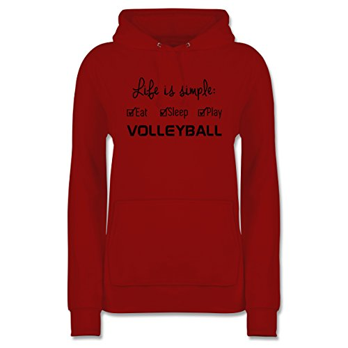Shirtracer Volleyball - Life is Simple Volleyball - M - Rot - JH001F - Damen Hoodie