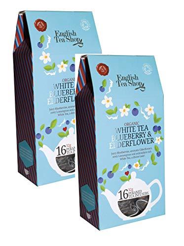 English Tea Shop Weißer Tee mit Saftigen Aromatischen Blaubeeren Holunderblüten und würzigen Blüten Citronella Tea Collection Handgepflückte Sri Lanka - 2 x 16 Silken Pyramid (64 Gram)