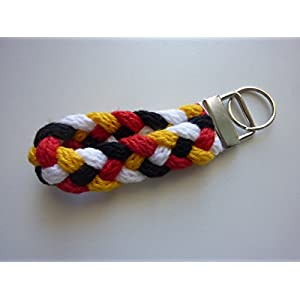 1 Schlüsselanhänger Schlüsselband in weiß schwarz rot gelb (gold) aus Strickliesel-Schnüren
