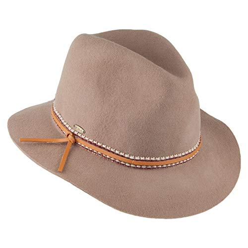Scala Safari Fedora Hut aus Wollfilz - Hellbraun - One Size -