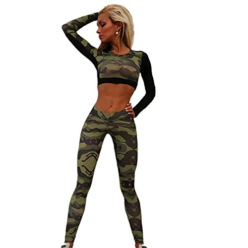 Coolster Damen Trainingsanzug Camouflage Tops & Hosen Sweatshirt Sets Casual Sport Wear (Pants XL, Tarnung) (Print Sexy Animal Bein)