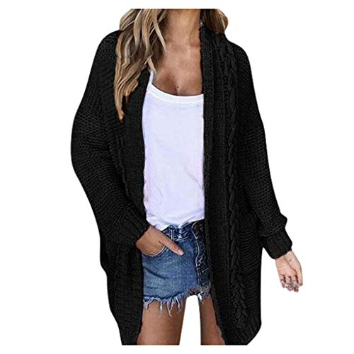 Pullover Mantel Frauen Casual Langarm solide Pullover Strickjacke Mantel mit Taschen Damen Vintage Solid Color Pullover Tasche Strickjacke Jacke