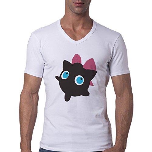 Pokemon Jigglypuff Wigglytuff Normal Shadow Herren V-Neck T-Shirt Weiß