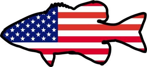 Wicked Goodz American Flagge Bass Angeln Vinyl Statische-Bass Angeln Dekoration-Bass Decor-Perfekte Angler Geschenk-Hergestellt in Den USA (Automobil-laptop-stand)
