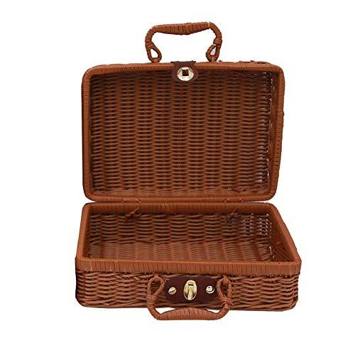 Fablcrew Reise Picknickkorb Handgefertigte Wicker Aufbewahrungskoffer Vintage Koffer Requisiten Box Weben Bambus Boxen Outdoor Rattan Organizer Size 22 * 17 * 11CM -