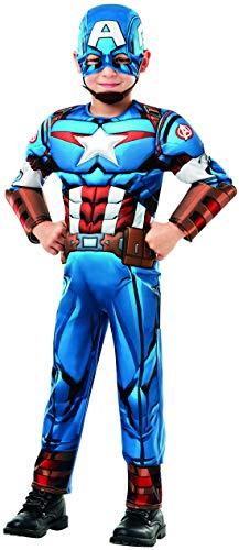 costumebakery - Jungen Kinder Captain America Deluxe Kostüm aus Avengers Assemble mit Einteiler, Muskelpolster, Manschetten und Haube, perfekt für Karneval, Fasching und Fastnacht, 152-164, Blau