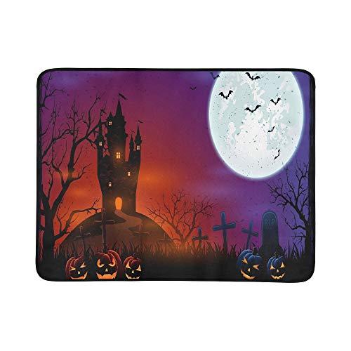 KAOROU Halloween-Kürbisse auf Friedhof-dunklem Schloss-tragbarer und Faltbarer Deckenmatte 60x78 Zoll-handliche Matte für kampierenden Picknick-Strand