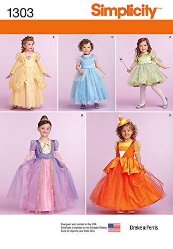 Simplicity 1303 Taille BB Les Tout-Petits et Patron de Couture Costumes pour Enfant, Multicolore