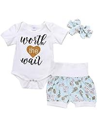 Brightup 3 piezas Conjunto Ropa Bebés Niños Camiseta manga corta Camisas de mameluco + Pantalones cortos