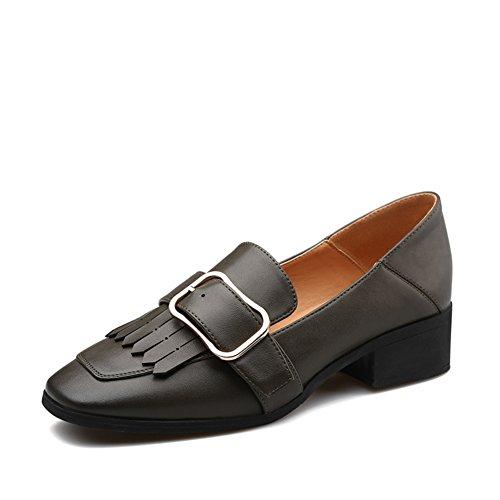 Printemps dames côté boucle chaussures/le gland épais talon chaussures femme/chaussures occasionnelles perruque pieds A
