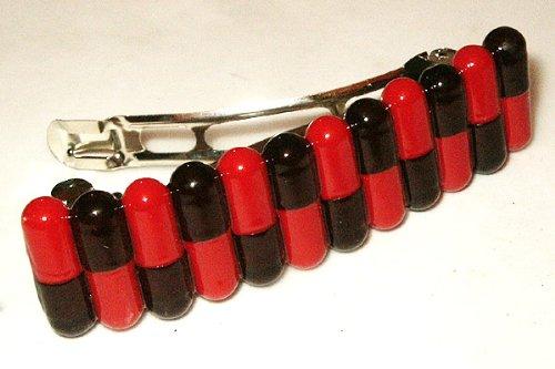 Pillenhülsen rot schwarz, coole Geschenkidee - Haarspange - Haarklammer für Fasching, Karneval und Arzthelferinnen, Apothekerin, (Verrückte Krankenschwester Kostüm)