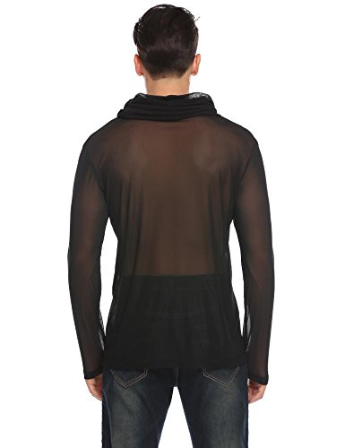 Modfine Herren Hemd Langarm Shirts Tops Transparent Mesh Sexy T-Shirt Party Club Shirt Reizwäsche WM-Schwarz