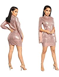 31af14fc3e2 Womens Sparkly Sequins Dress False Long Sleeve Stand Round Neck Bodycon  Stretchy Mini Party Dress Cocktail