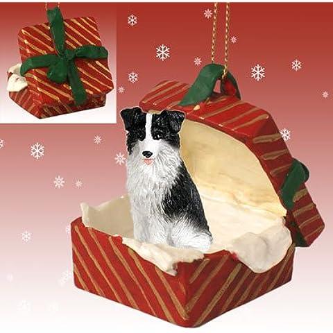 Perro BORDER COLLIE en una caja de regalo adorno de Navidad notebookbits RGBD62