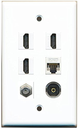 RiteAV - 3 HDMI 1 Port Koax-Kabel TV-F-1 Port Toslink 1 Port Cat5e Ethernet weiß Wall Plate (Kabel-ethernet-wall Plate)
