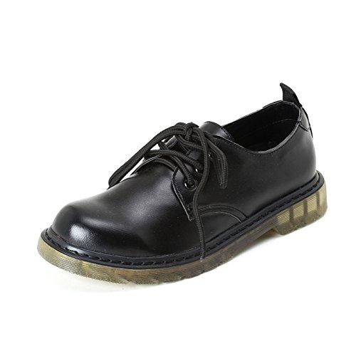 PRENDIMI Scarpe&Scarpe - Schnürschuhe mit Rillen-Sohle, Flache Schuhe - 38,0, Schwarz