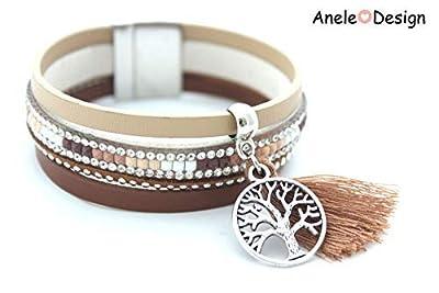 Bracelet arbre de vie, bracelet manchette femme, pompon marron, cristal, marron argenté, cadeau femme Noël