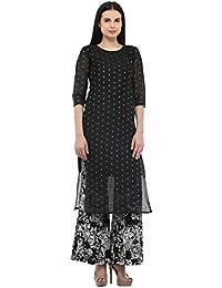 cottinfab Women Silk Black Kurta (Medium)