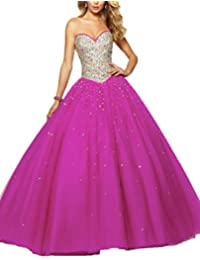 Secret Castillo rollo de tul de novia de encaje espalda beadings largo vestidos de quinceañera U257
