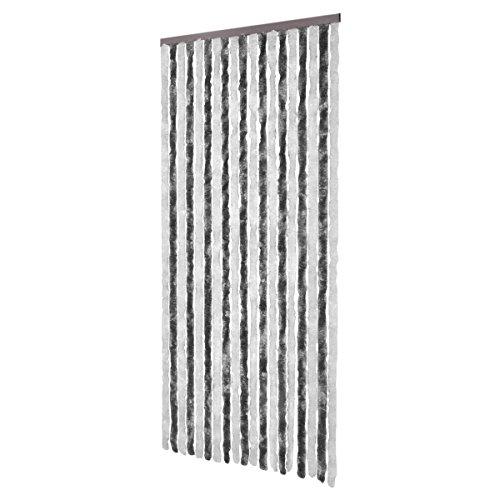 vidaxl-rideau-de-porte-chenille-gris-et-blanc-90-x-220-cm
