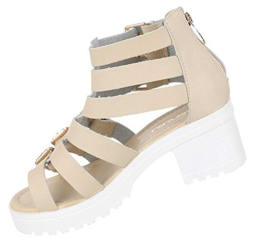 Damen Schuhe Sandalen Riemchen Sandaletten Beige