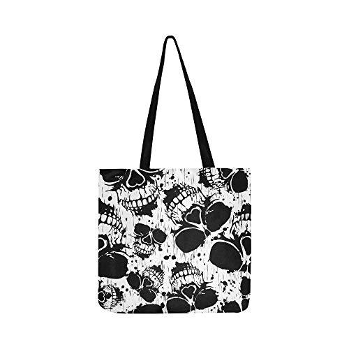 (Vektor-Illustration Abstract Grunge Skulls Canvas Tote Handtasche Schultertasche Crossbody Taschen Geldbörsen für Männer und Frauen Einkaufstasche)