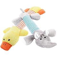 Conjunto de 2 Piezas de Juguete Mordedor con Sonidos para Perro Cachorro Mascota Peluche Pato Elefante