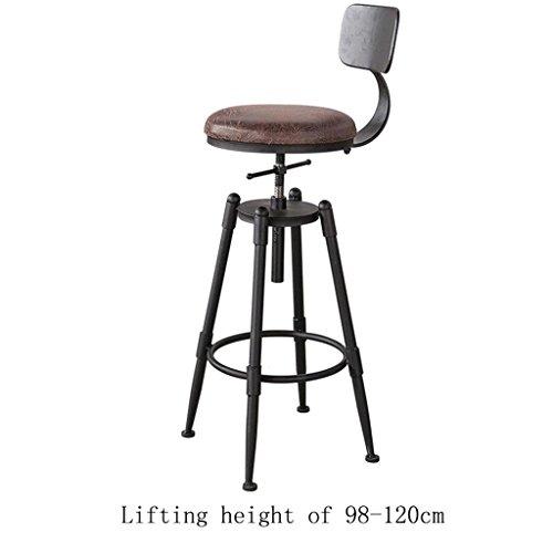 ChunSe Stuhlhocker, Pu Stühle und Holzstuhlbeine mit Metall, Retro Hocker Küchenhocker Bar Tisch Frühstücksbar Stuhl, 360 ° Rotation kann auf und ab aufsteigen, Höhe von 68-90cm / 98-120cm, D -