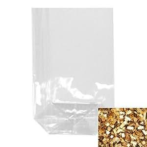 Zellglas - Bodenbeutel / Tüte + Verschluss-Clips (Transparent Neutral + Gold / 11 x 19 cm - jeweils 100 Stk.) KOMPLETT - SET