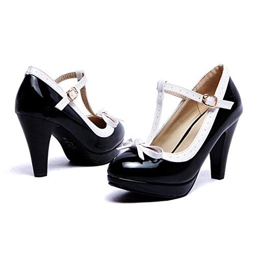 YE Damen T Strap Lackleder Pumps Blockabsatz High Heels Plateau mit Schleife und Riemchen Süß 8cm Absatz Schuhe Schwarz