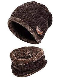 248440cd2cc ZZLAY Enfants Hiver épais Bonnet écharpe Ensemble Slouchy Chaud Neige Knit  ...