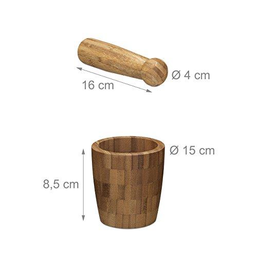 Relaxdays Mortero con pilón bambú, redondo, natural, de gran calidad, especias Mortero, hxbxt: 10,5x 10x 10cm, natural - 2
