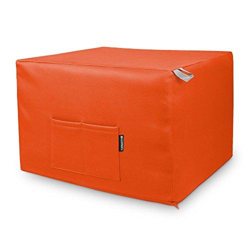 HAPPERS Puff Naranja Convertible en Cama cómoda con Funda de Polipiel
