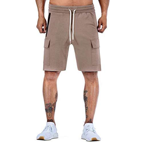 MOTOCO Männer Plain Shorts Waren Beiläufige Beiläufige Sommer Strand Sport Mode Reise Tasche Arbeit Kurze Elastische Taille Dünne Halbe Hosen(XL,Khaki) - Ecko Jungen Shorts