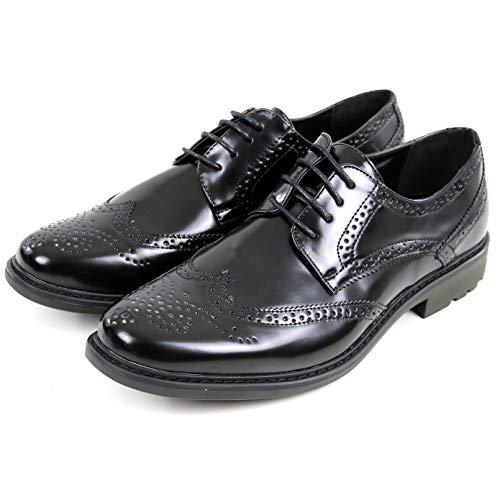Scarpe uomo eleganti nere lucide francesine brouge traforate derby eco pelle stringate inglesine oxford basse liscie scarpa da cerimonia traforata fiorellini 40 41 42 43 44 45 (41)