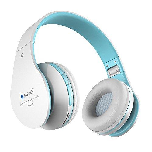 Aita BT809 Auriculares con Micrófono, MP3 Player, MicroSD / TF Música, Radio FM Digital, 4 en 1 Multifuncional Estéreo Inalámbrico Bluetooth 4.1 + EDR Manos Libres para iPhone, Smartphone, Tablet, MP3 etc. Para adolescentes y adultos (Blanco-azul)