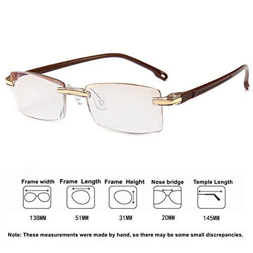 Li Kun Peng Lesebrille Anti-Blaulicht-Brille Mit Diamantbesatz Ms Ultralight HD Anti-Fatigue Frameless Flower Glasses,DoubleTea,+2.00