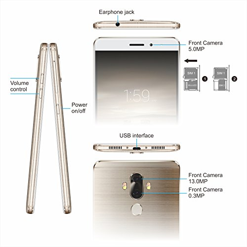 6 Zoll Smartphone Ohne Vertrag,TIMMY M40 4G FDD-LTE,2GB/16GB,Dual Sim Quad Core Android 7.0 Handys Gold