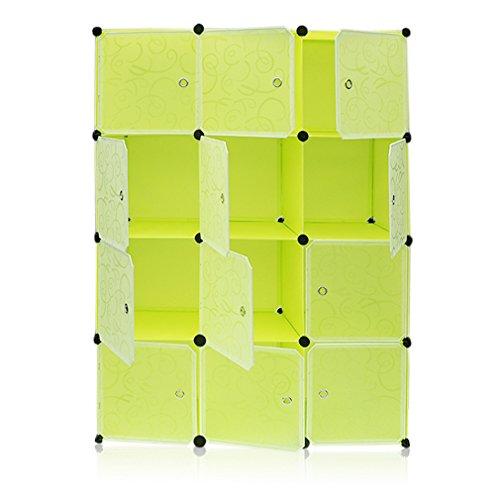 Homgrace Armario Modular de 12 Cubos con Puertas, Armario de Almacenaje, Para Ropa, Zapatos, Juguetes y Libros (Verde)