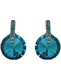 Mahi Rhodium Plated Alluring Aqua Blue Stud Earrings For Women ER1193689RBlu