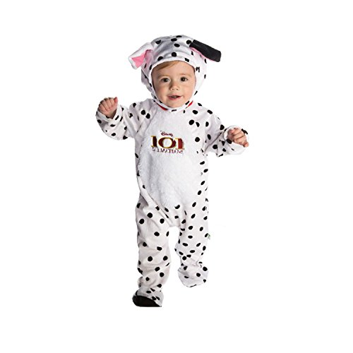 Amscan Disney Baby DCPAT-RPMO-12 - Kostüm - 101 Dalmatiner - Patch - Fleece Strampler mit Kapuze, weiß