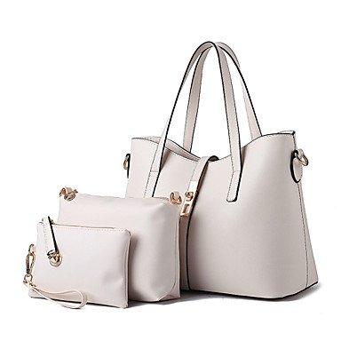 Le donne della moda casual solido Vintage pelle PU Messenger Borsa a tracolla/borse,Beige Beige