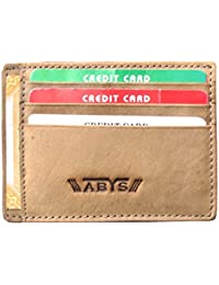 ABYS Genuine Leather Tan Unisex Credit Card Case||Card Holder||Visiting Card Case||Id Card Holder With Cash Compartment