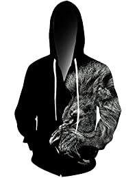 Chicolife Graphic Zip Hoodie, Mens Womens 3D Printed Hoodies Jacket Graffiti Zip up Sweatshirts Funny Realistic Coat Long Sleeve Hooded With Pocket