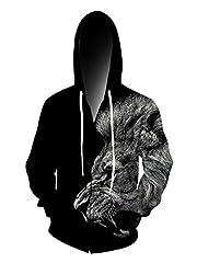 Idea Regalo - Chicolife Unisex 3d ruggente leone felpa con cappuccio Hip Hop Hipster manica lunga zip Felpa con cappuccio Giacche grande