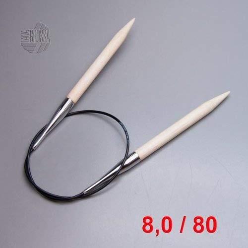 LANA GROSSA Rundstricknadel Big & Easy, Länge 80 cm / Stärke 8, 0 Big & Amp