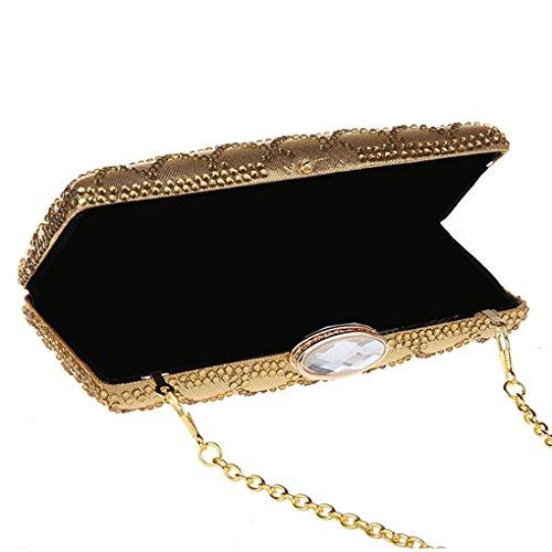 KAXIDY Sac Pochette Sac Soiree Sac à main Pochette Sac en Bandoulière Sac porté épaule Sacoche (Or) Or
