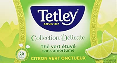 Tetley Thé Vert Etuve sans Amertume Citron Vert Onctueux Boîte de 20 Sachets Tir Press Sous Protect'Arôme Collection Délicate