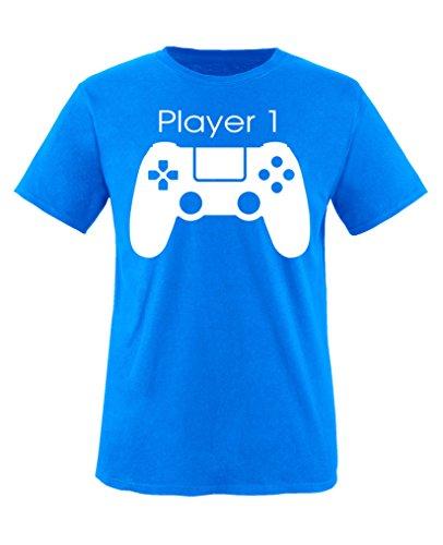 Comedy Shirts - Player 1 Controller - Jungen T-Shirt - Royalblau / Weiss Gr. 152-164 (Herren-player-serie)